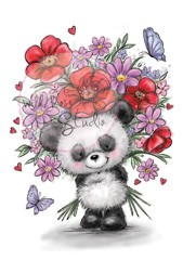 Wild Rose Studio`s - Clearstamp - Panda with Flowers - CL452