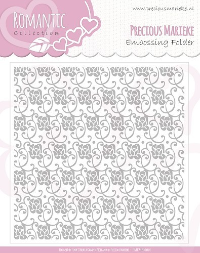 Precious Marieke - Embossingfolder - Romance collection - Rozen swirls - PMEMB10003