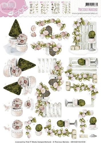 Card Deco - Precious Marieke - 3D-knipvel A4 - Romance Collection - Buxus