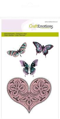 CraftEmotions - Clearstamp - Heart and butterflies - 130501/1082