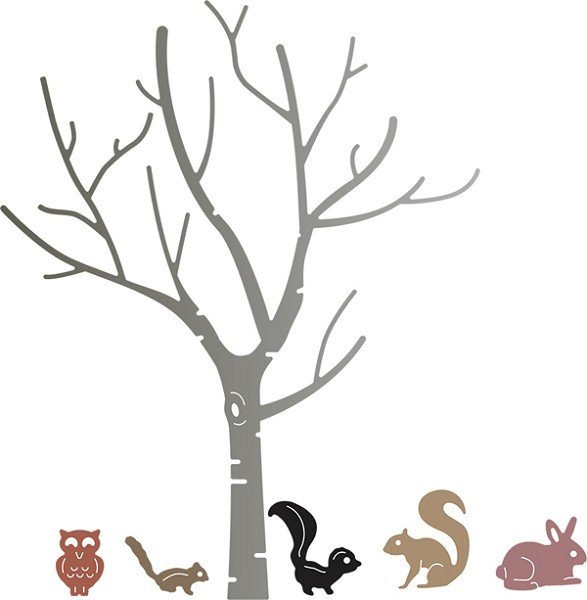 Cheery Lynn Design - Die - Birch Tree with Cute Critters - B370
