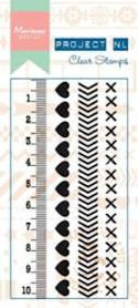 Marianne Design - Project NL - Clearstamp - Border - Hearts - PL1503
