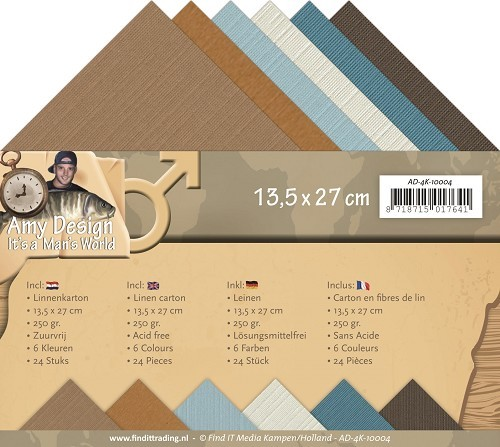 Card Deco - Linnenpakket (13,5 x 27cm) - Amy Design - It`s a Man`s World