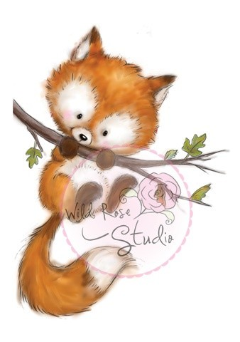 Wild Rose Studio`s - Clearstamp - Fox on branch - CL450