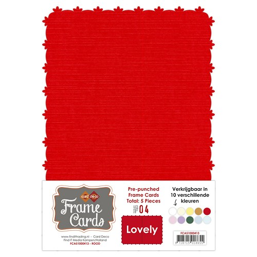 Card Deco - Frame Cards - Lovely - A5: Rood - FCA51000413