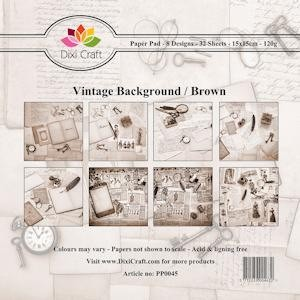 Dixi Craft - Paperpack - Vintage Background: Brown - PP0045