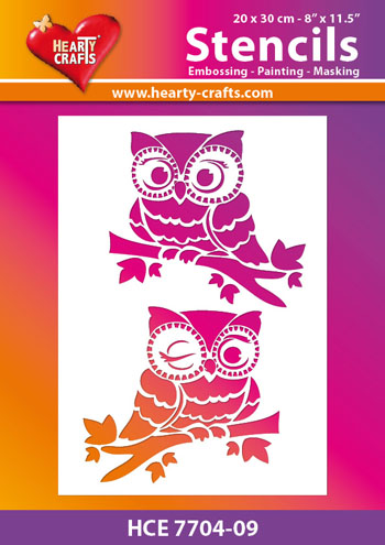 Hearty Crafts - Maskingstencil - Owls - HCE7704-09
