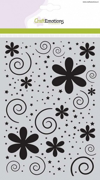 CraftEmotions - Maskingstencil - Flowers with dots and stars - 185070/1106