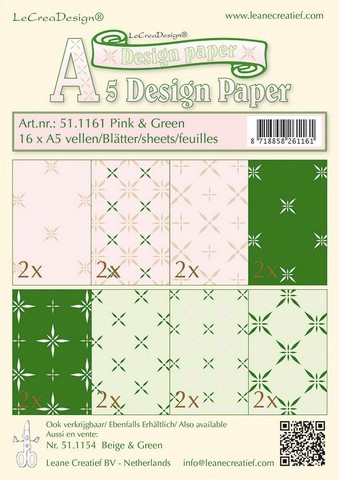 Leane Creatief - Paperpack - Design Paper - Pink & Green - 51.1161