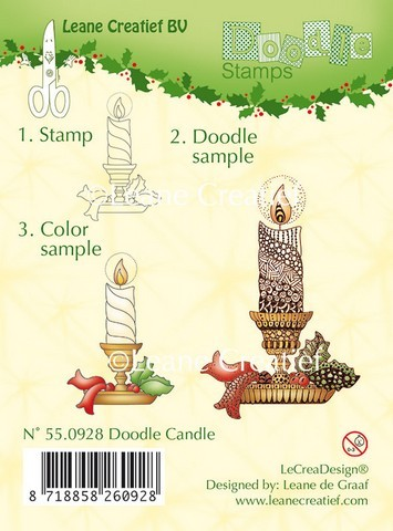 Leane Creatief - Clearstamp - Doodle - Candle - 55.0928