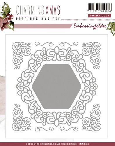 Precious Marieke - Embossingfolder - Charming Xmas Collection - Swirl Frame - PMEMB10004