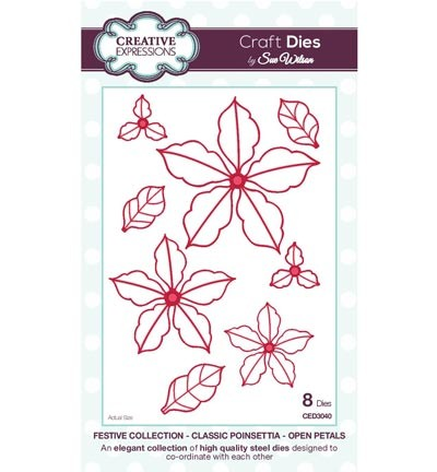 Creative Expressions - Die - The Festive Collection - Classic Poinsettia Open Petals