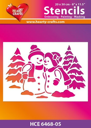 Hearty Crafts - Maskingstencil - Snowmen - HCE6468-05