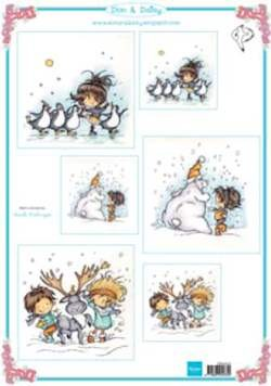 Marianne Design - Don & Daisy - 3D-knipvel A4 - Swinging in the snow