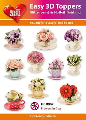 Hearty Crafts - Easy 3D Toppers - Flowers in cup - HC8807