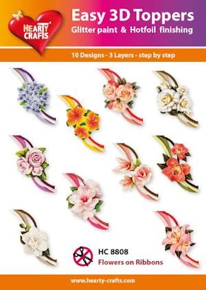 Hearty Crafts - Easy 3D Toppers - Flowers on ribbons - HC8808