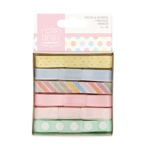Docrafts / Papermania - Ribbon - Capsule Collection - Spots & Stripes: Pastels