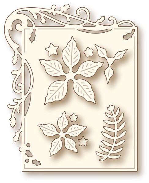 Wild Rose Studio - Die - Holly Frame and Poinsettia
