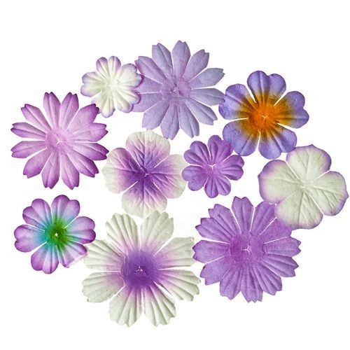 ScrapBerry`s - Mini-flowers set with leaves: Purple - SCB300303