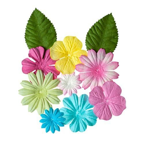 ScrapBerry`s - Mini-flowers set with leaves: Pastel - SCB300307