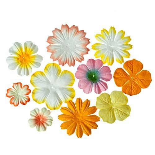 ScrapBerry`s - Mini-flowers set with leaves: Yellow - SCB300305