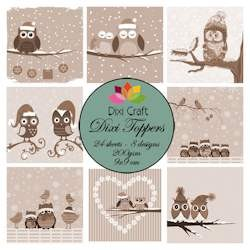 Dixi Craft - Paperpack - Winter Owls Sepia - ET0250