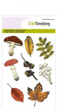CraftEmotions - Clearstamp - Autumn Woods - Mushrooms leaves