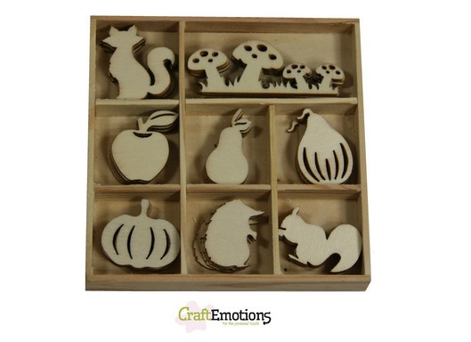 CraftEmotions - Wooden Ornaments - Autumn Woods - Paddenstoel, vos, pompoen - 811500/0311