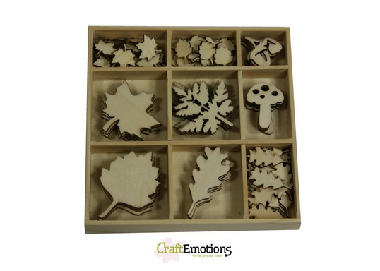 CraftEmotions - Wooden Ornaments - Autumn Woods - Bladeren - 811500/0312