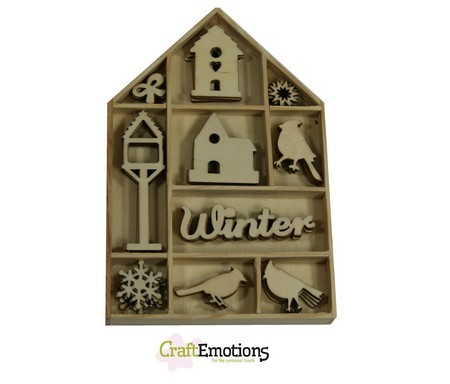 CraftEmotions - Wooden Ornaments - Home for Christmas - Vogels, vogelhuisje - 811500/0321