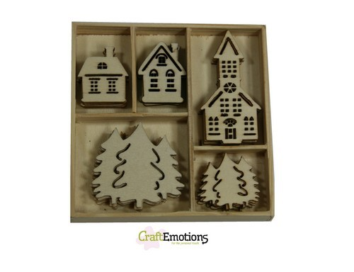 CraftEmotions - Wooden Ornaments - Home for Christmas - Huisjes, kerk - 811500/0322