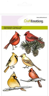 CraftEmotions - Clearstamp - Home for Christmas - Cardinal birds - 130501/1221