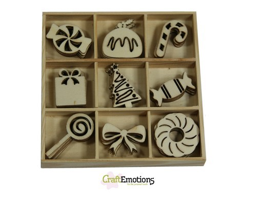 CraftEmotions - Wooden Ornaments - Sweet Vintage Christmas - Sweets - 811500/0331