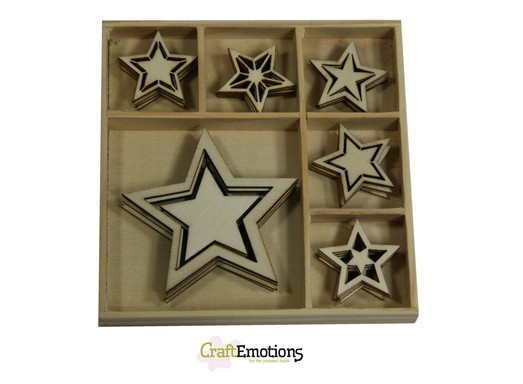 CraftEmotions - Wooden Ornaments - Sweet Vintage Christmas - Sterren - 811500/0332