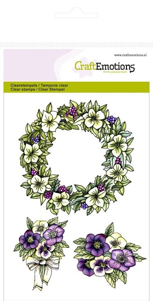 CraftEmotions - Clearstamp - Purple Holiday - Bloemenkrans - 130501/1055