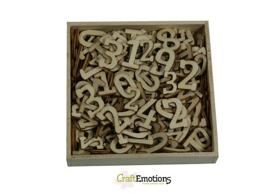 CraftEmotions - Wooden Ornaments - Cijfers - 811500/0287