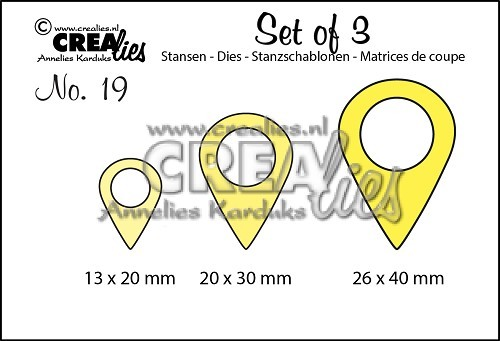 Crealies - Die - Set of 3 - Geotags - No. 19