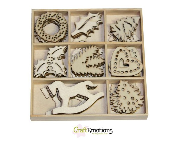 CraftEmotions - Wooden Ornaments - Christmas Decorations - 811500/0216