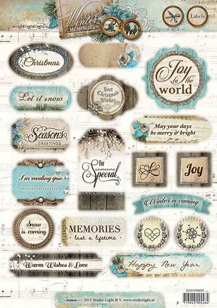 Studio Light - (3D-)stansvel A4 - Winter Memories - Labels - EASYWM493