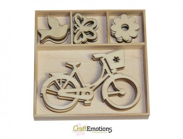 CraftEmotions - Wooden Ornaments - Bike, butterfly - 811500/0224