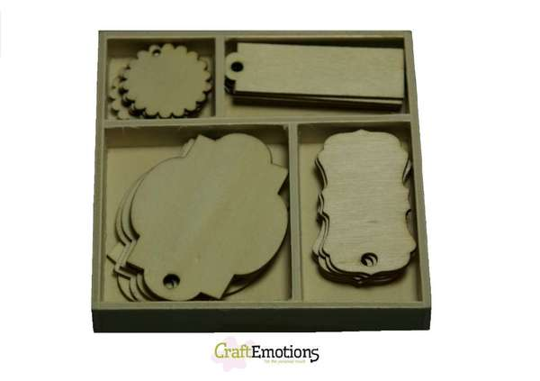 CraftEmotions - Wooden Ornaments - Labels - 811500/0201