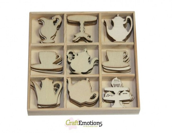 CraftEmotions - Wooden Ornaments - High Tea Roses - Tea pots and cups - 811500/0162