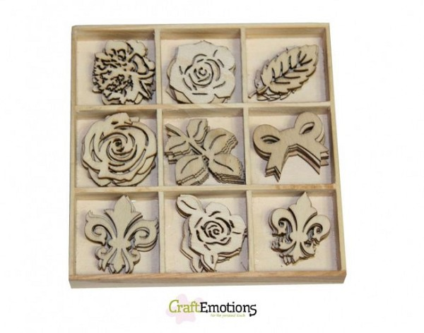 CraftEmotions - Wooden Ornaments - High Tea Roses - Rose - 811500/0161