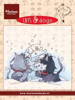 Marianne Design - Hetty Meeuwsen - Clearstamp - Cats & Dogs - Snow fight - CD3502