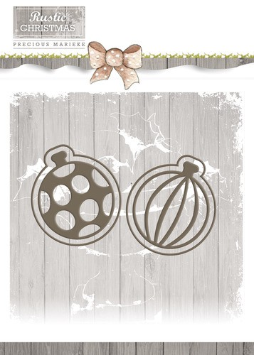 Card Deco - Precious Marieke - Die - Rustic Christmas - Bauble Set