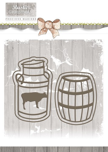 Card Deco - Precious Marieke - Die - Rustic Christmas - Milk Churn and Barrel