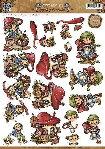 Yvonne Creations - 3D-knipvel A4 - Fall Favorites - Sweet Gnomes - CD10557