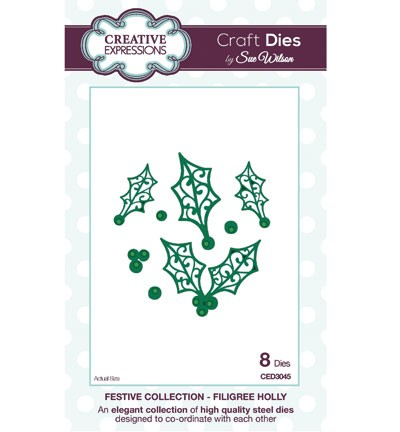 Creative Expressions - Die - The Festive Collection - Filigree Holly