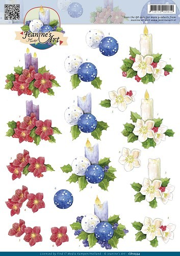 Jeanine`s Art - 3D-knipvel A4 - Christmas Candles - CD10554