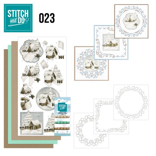 Card Deco - Kaartenpakket - Stitch & Do No. 23 - Snow Cabins - STDO023